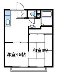 神奈川県伊勢原市板戸の賃貸アパートの間取り