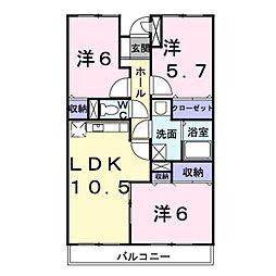 神奈川県座間市広野台1丁目の賃貸マンションの間取り