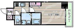 阪急千里線 豊津駅 徒歩9分の賃貸マンション 6階1Kの間取り