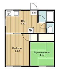 神奈川県綾瀬市上土棚北5丁目の賃貸アパートの間取り
