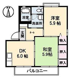 ロンクー C[1階]の間取り