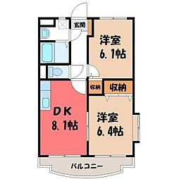 栃木県小山市大字外城の賃貸マンションの間取り