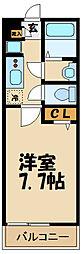 リブリ・ANGEL狛江III 2階1Kの間取り