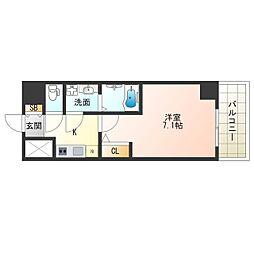 JR大阪環状線 福島駅 徒歩13分の賃貸マンション 6階1Kの間取り