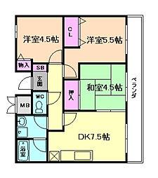 大阪府豊中市熊野町2丁目の賃貸マンションの間取り