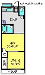 神奈川県横浜市磯子区中原3丁目の賃貸アパートの間取り