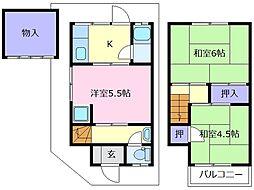 [一戸建] 大阪府松原市岡2丁目 の賃貸【/】の間取り