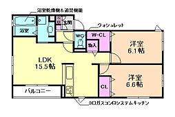 大阪府豊中市中桜塚5丁目の賃貸アパートの間取り