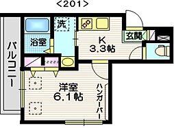 メゾン・ド・ミルキー 2階1Kの間取り