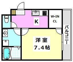 阪急京都本線 正雀駅 徒歩10分の賃貸アパート 3階1Kの間取り