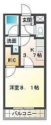 愛知県豊橋市上野町字新上野の賃貸アパートの間取り