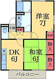 千葉県市原市君塚3丁目の賃貸アパートの間取り