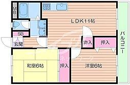 大阪府箕面市西宿2丁目の賃貸マンションの間取り