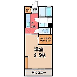 (仮)D-room中央町 2階1Kの間取り