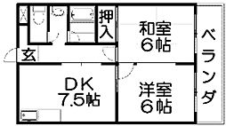 第五金森マンション 4階2DKの間取り