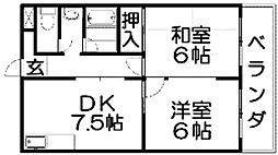 第五金森マンション[2階]の間取り
