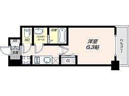 Osaka Metro谷町線 四天王寺前夕陽ヶ丘駅 徒歩9分の賃貸マンション 5階1Kの間取り