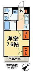 京成千葉線 京成幕張本郷駅 徒歩13分の賃貸アパート 1階1Kの間取り