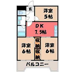 栃木県宇都宮市陽南3丁目の賃貸マンションの間取り