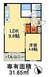 Dear Court 稲毛海岸 4階1LDKの間取り