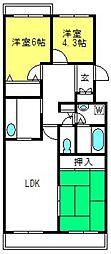 戸山ハウス[402号室]の間取り