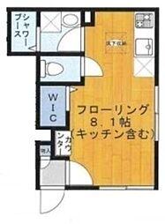ラロッシュ北新宿 1階ワンルームの間取り