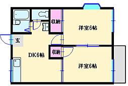 第2ファミーユ竹内[2階]の間取り