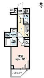 プレール・ドゥーク中野南台 3階1Kの間取り