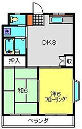 神奈川県横浜市港南区日野2丁目の賃貸マンションの間取り