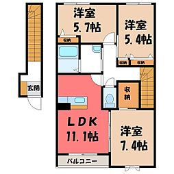 KOGA-KEYAKI ALLEYCLE F 2階3LDKの間取り