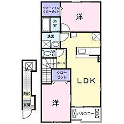 愛知県豊橋市下地町字若宮の賃貸アパートの間取り