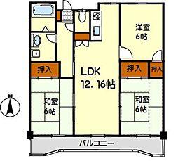 サンライズマンション東油山[605号室]の間取り