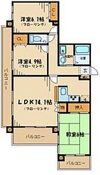 ドメス稲田堤 6階3LDKの間取り