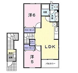 埼玉県草加市新栄1丁目の賃貸アパートの間取り