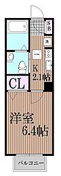 東京都大田区西六郷2丁目の賃貸アパートの間取り