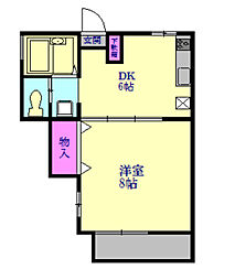 JR東北本線 蓮田駅 徒歩1分の賃貸アパート 2階1DKの間取り