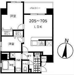 東京メトロ半蔵門線 錦糸町駅 徒歩9分の賃貸マンション 7階2LDKの間取り