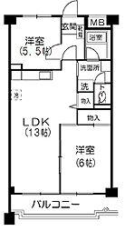 コーポ鷺宮5[2階]の間取り