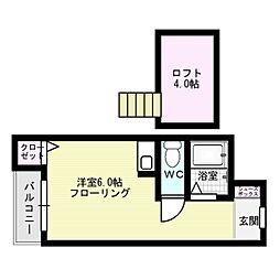 福岡県福岡市中央区西中洲の賃貸アパートの間取り