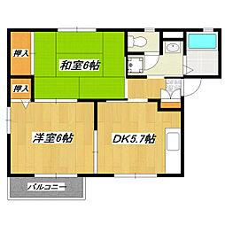 アビタシオン松江A[2階]の間取り
