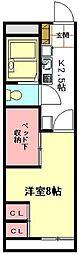 JR高崎線 北本駅 徒歩25分の賃貸アパート 2階1Kの間取り