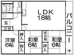 第2桑田ハイツ[4階]の間取り