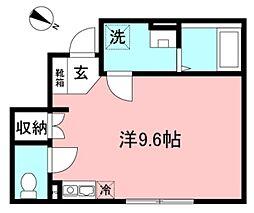 (仮)矢野口新築長屋 1階ワンルームの間取り