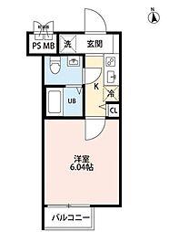 JR総武線 市川駅 徒歩10分の賃貸マンション 2階1Kの間取り