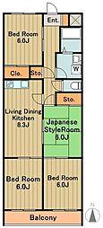 神奈川県相模原市中央区宮下2丁目の賃貸マンションの間取り
