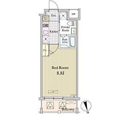 JR山手線 神田駅 徒歩9分の賃貸マンション 4階1Kの間取り