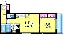 J.maison ジェイメゾン 2階1LDKの間取り