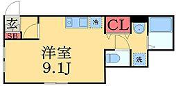 京成本線 京成津田沼駅 徒歩12分の賃貸アパート 1階ワンルームの間取り