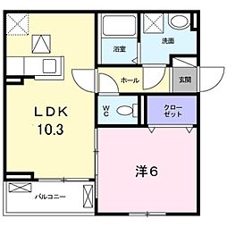 Virtu palazzo豊中 1階1LDKの間取り