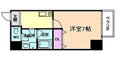 JR東西線 海老江駅 徒歩7分の賃貸マンション 7階1Kの間取り